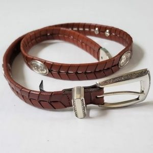Brighton Herringbone Woven Leather Silver Belt M